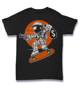 Cartoon T's: Astronaut Longboard