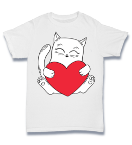 Simple T - Cat holding Heart